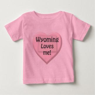 Wyoming älskar mig den rosa begynna flickaT-tröja T-shirt
