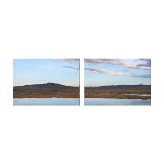 Wyoming damm på gryningdiptychen canvastryck