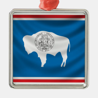 Wyoming flagga julgransprydnad metall