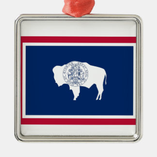 Wyoming statlig flagga julgransprydnad metall