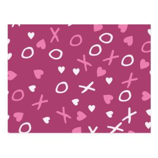X och nolla-hjärtor vykort
