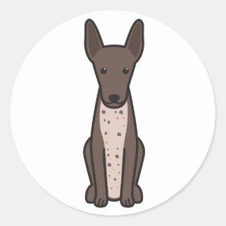 Xoloitzcuintli hundtecknad runt klistermärke