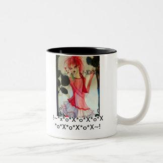 xox för love birds för v-dagflicka! Två-Tonad mugg