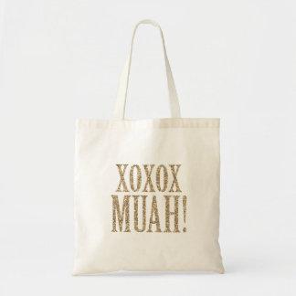 XOXO MUAH! glittertoto för brudtärnor Tygkasse