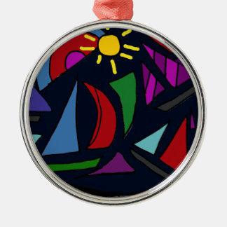 XX- abstrakt konst för färgrika segelbåtar Julgransprydnad Metall