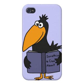 XX- läs- boktecknad för rolig kråka iPhone 4 Hud