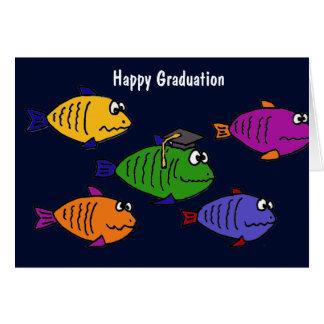 XX- skolar lyckligstudenten av fisk Hälsningskort