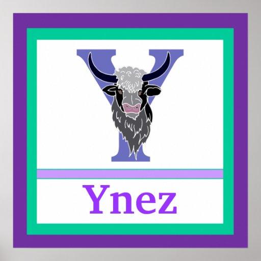 Y är för för väggkonst för Yak och för flicka känd Posters