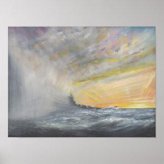 Yamato dyker upp från den Stillahavs- typhoonen Poster
