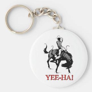 Yee-Ha! Rodeocowboy på att sparka bakut Rund Nyckelring