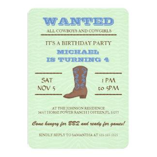 YEEHAW! BlåttCowboyfödelsedagsfest inbjudan