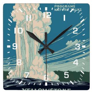 Yellowstone nationalpark fyrkantig klocka