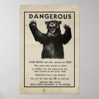 Yellowstone parkerar björnvintage som varnar 1959 poster