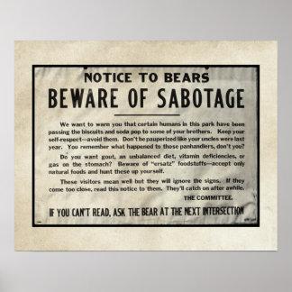 Yellowstone varning märker för att parkera humor poster