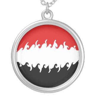 Yemen Gnarly flagga Halsband Med Rund Hängsmycke