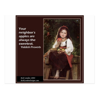 Yiddish ordstäv angående äpplen & grafiskt vykort