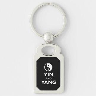 Yin och Yang Rektangulärt Silverfärgad Nyckelring