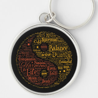Yin Yang andlig ordkonst Rund Silverfärgad Nyckelring