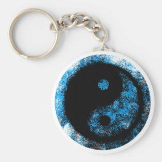 Yin Yang blått svärtar jGibney den MUSEUMZazzle Rund Nyckelring