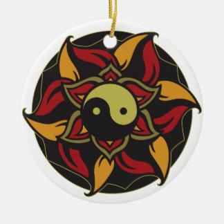Yin Yang blomma lotusblomma Julgransprydnad Keramik