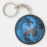 Yin Yang drakar, blått och svart Nyckelringar