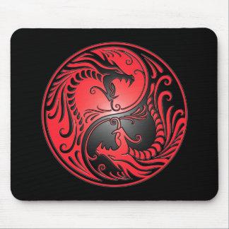 Yin Yang drakar, rött och svart Mus Mattor