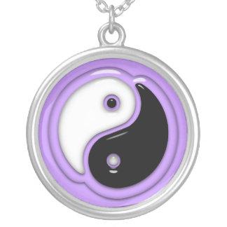 Yin Yang exponeringsglaslilor Silverpläterat Halsband