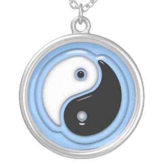 Yin Yang Glass blått Silverpläterat Halsband