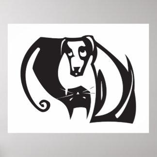 Yin Yang hund och katt Poster