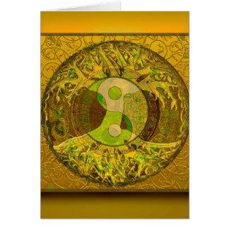 Yin Yang i guld- färger Hälsningskort