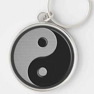 Yin Yang i stil för kolfibertryck Rund Silverfärgad Nyckelring