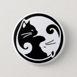 Yin Yang katter knäppas Standard Knapp Rund 5.7 Cm