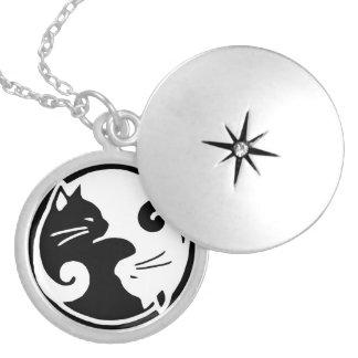 Yin Yang kattLocket Silverpläterat Halsband