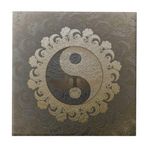 Yin Yang med livets träd av Amelia Carrie Keramiska Plattor