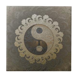 Yin Yang med livets träd av Amelia Carrie Liten Kakelplatta