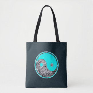 Yin-yang motiv av aqua på sorlvatten tygkasse