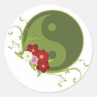 Yin Yang och blommor Runt Klistermärke