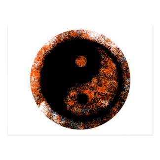Yin Yang orangesvart de MUSEUMZazzle gåvorna Vykort