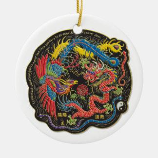 Yin Yang Phoenix och drakejulprydnad Rund Julgransprydnad I Keramik