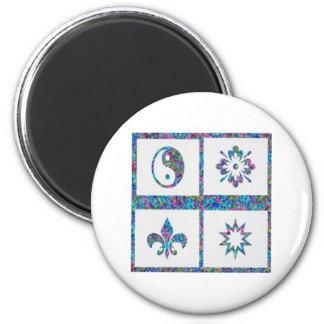 YinYang Fleur de Lys - konstnärliga 4 baserar Magnet