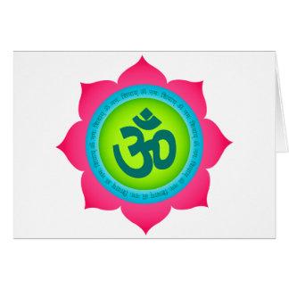 Yoga för Om för Namaste lotusblommablomma Hälsningskort
