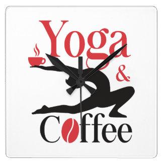 Yoga och kaffe fyrkantig klocka
