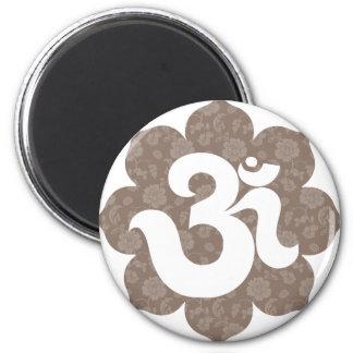 Yoga Om i lotusblommabrunt grånar Magneter För Kylskåp