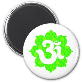 Yoga Om i lotusblommagrönt Magnet Rund 5.7 Cm