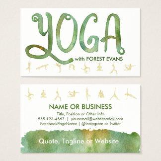 YOGA poserar gröna vattenfärgvisitkortar för skog Visitkort