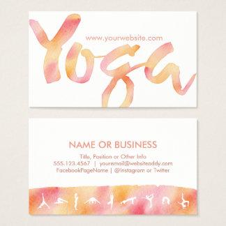 YOGA poserar rosa Lemonadevattenfärgvisitkortar Visitkort