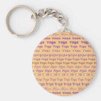 YOGA - skriva all över olikt typsnitt Rund Nyckelring