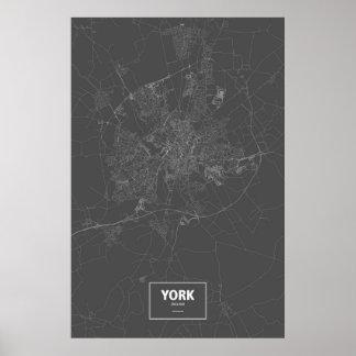 York England (vit på svart) Poster