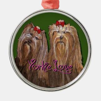 Yorkie kärleksamling julgransprydnad metall