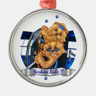 Yorkies härskar!! Pr för prydnad för konst för Julgransprydnad Metall